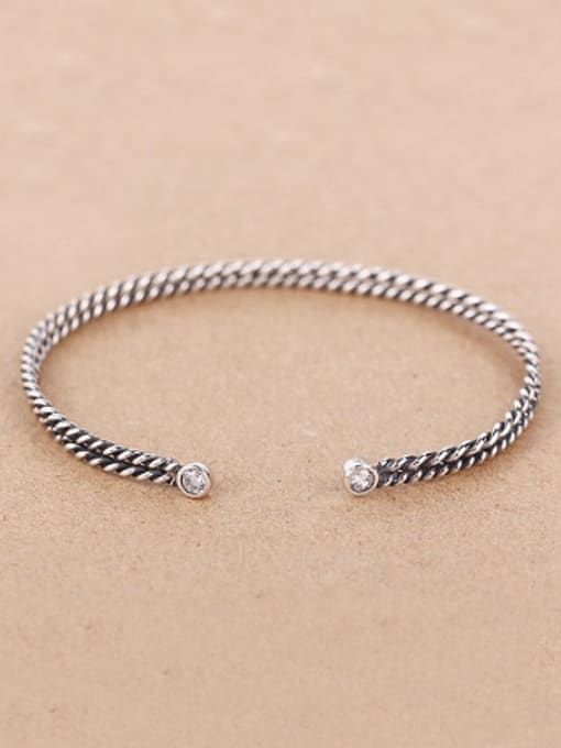 Peng Yuan Two-layer Twisted Silver Opening bangle
