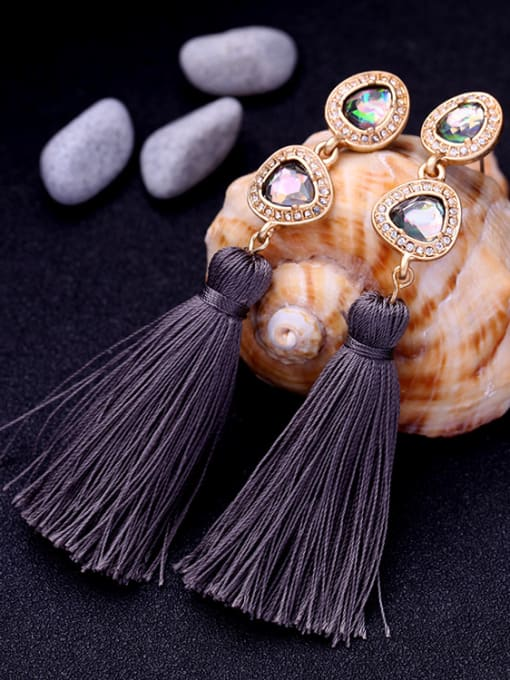 KM Elegant national Tassel Drop Chandelier earring 1