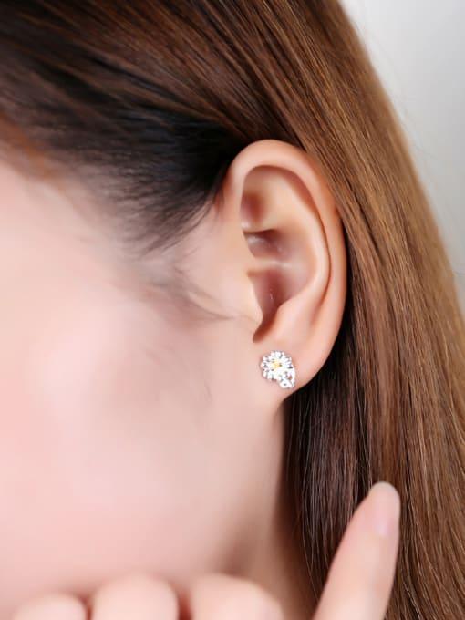 Peng Yuan Fashion Flower Silver stud Earring 1