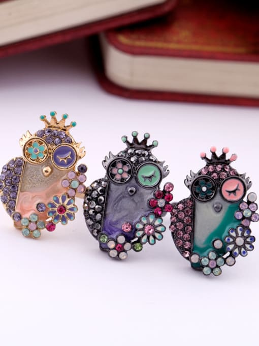 KM Cartoon Owl Women Alloy Statement Ring 1