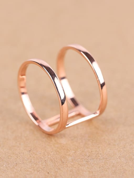 Peng Yuan Simple Two-band Rose Gold Plated Ring 2