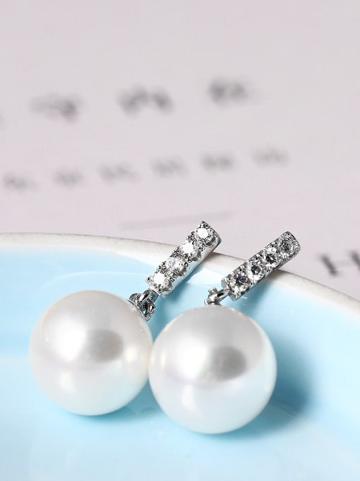 SILVER MI Shining Zircons Shell Pearls Stud drop earring 1
