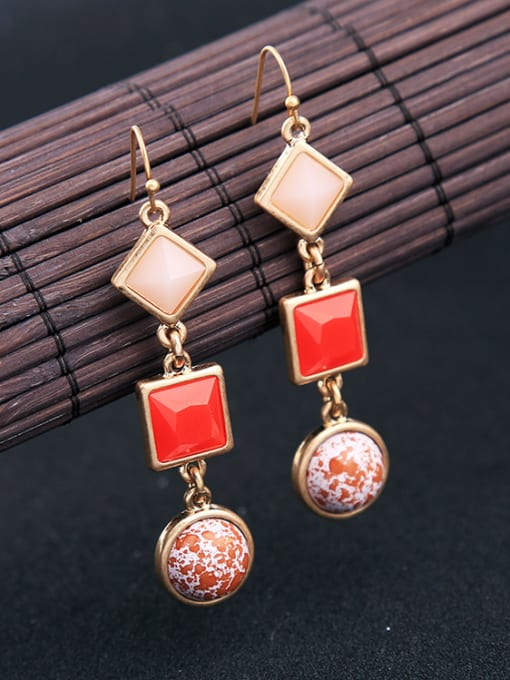 KM Rose Gold Plated Geometric Stones drop earring 2