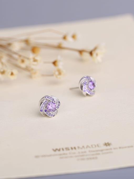 One Silver Women Trendy Purple Zircon stud Earring 1