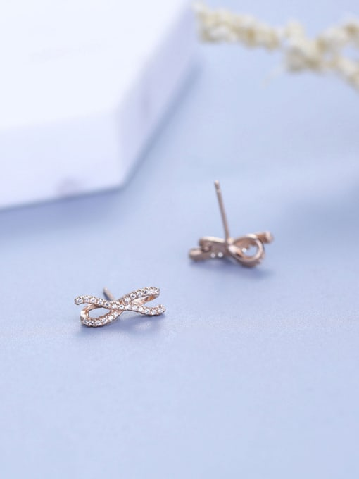 One Silver Rose Gold Plated Bowknot cuff earring 2