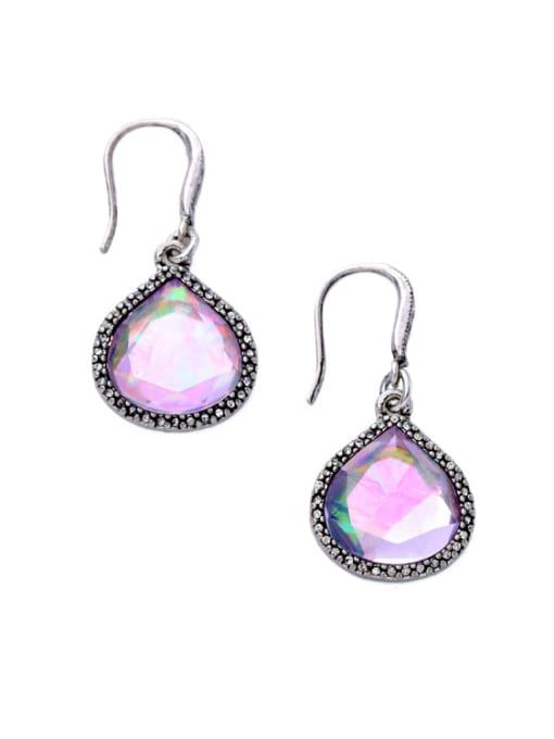 KM Temperament Pink Stones Alloy Ear Hooks 1