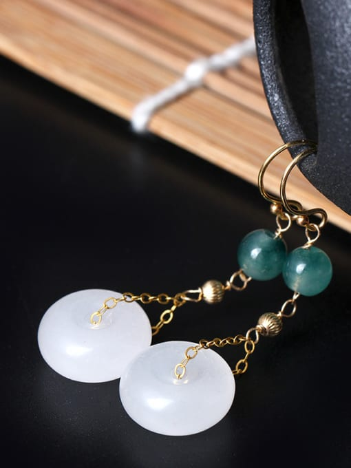 SILVER MI Elegant Jade Retro Style Drop Earrings 1