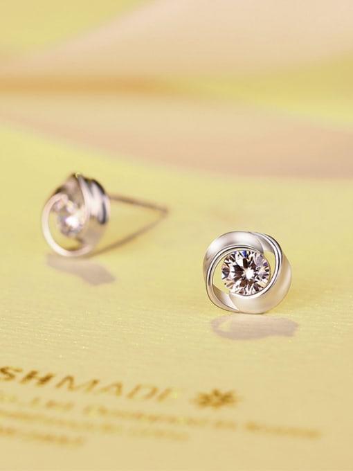 One Silver 925 Silver Flower-shaped stud Earring 3
