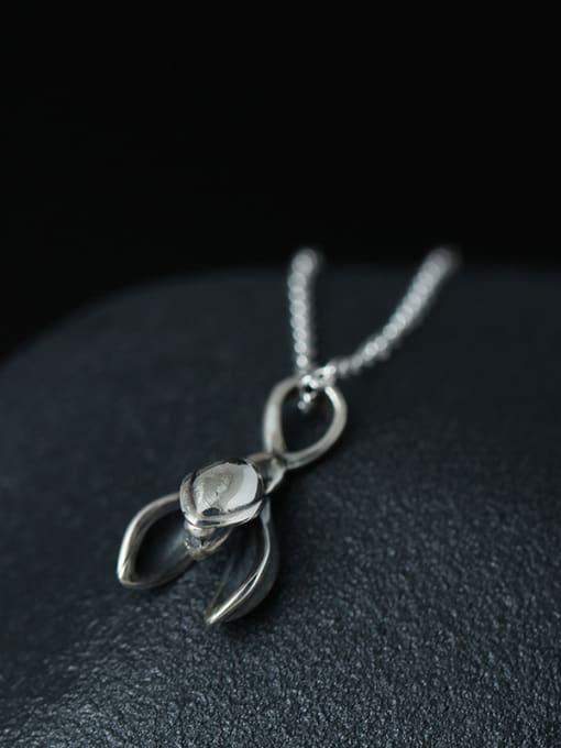 SILVER MI Retro Magnolia Flower Clavicle Necklace 1