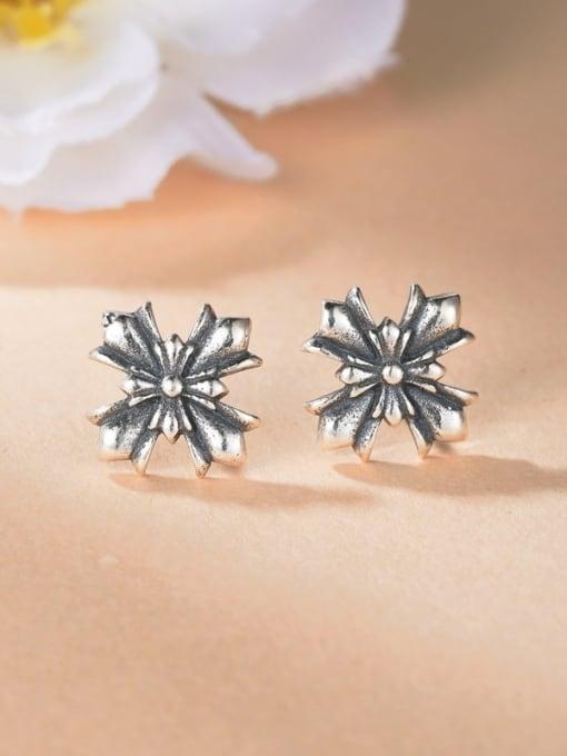 One Silver Women Double Cross Shaped Earrings 1