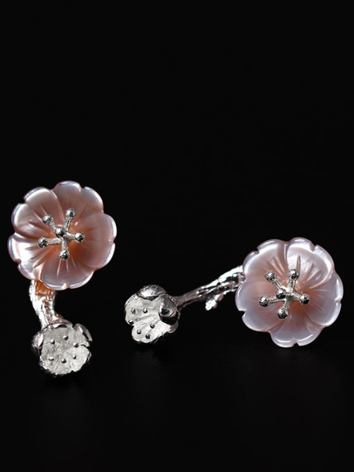 SILVER MI Pink Flower Shaped stud Earring 1