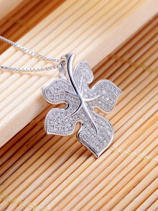 One Silver All-match Leaf Shaped Zircon Pendant 2