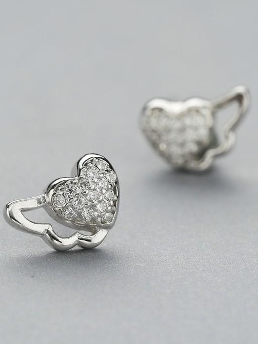 One Silver Fresh Heart Shaped Zircon stud Earring 1