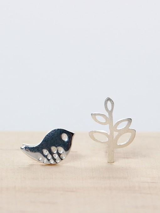 SILVER MI Character Asymmetry Bird Leaf stud Earring 1