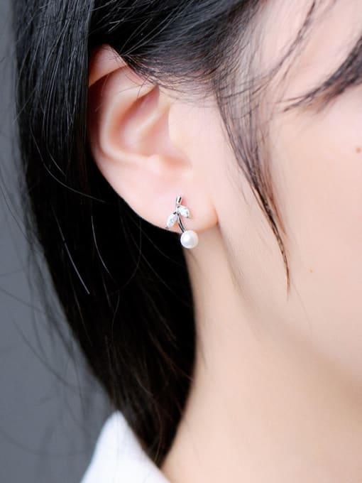 Peng Yuan Freshwater Pearl Leaves stud Earring 1