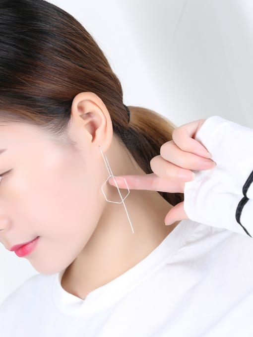 Peng Yuan Simple Hexagon-shaped Silver Line threader earring 1