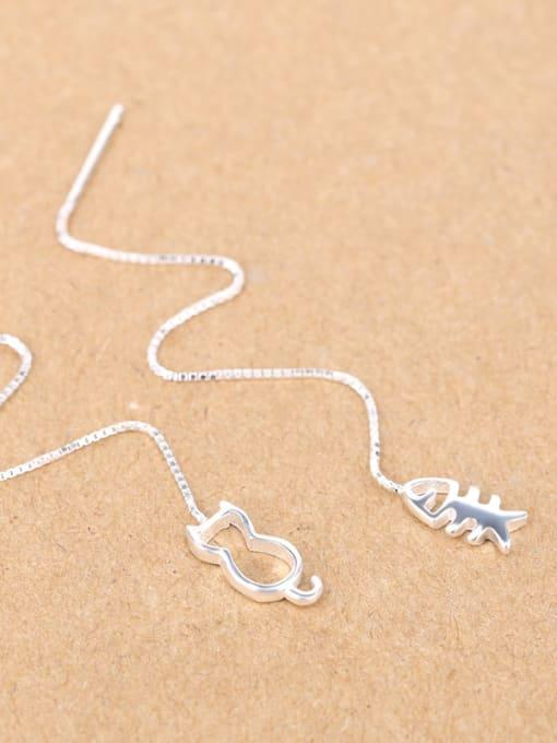 Peng Yuan Hollow Kitten Fish Bone Line threader earring 2