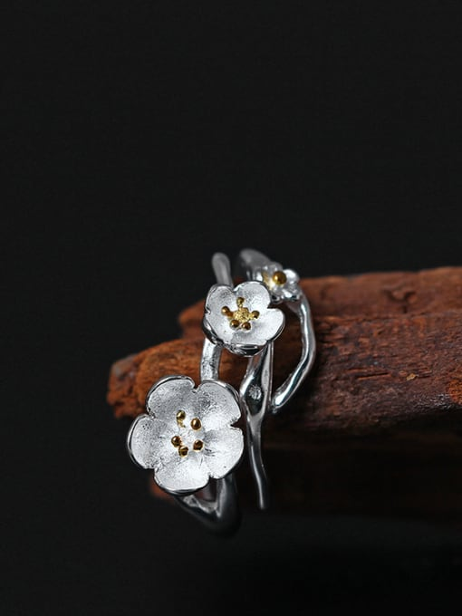 SILVER MI Beautiful Flower Silver Opening Ring 1
