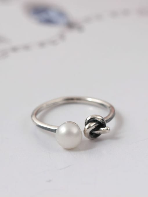 SILVER MI Knot Freshwater pearl Opening Ring