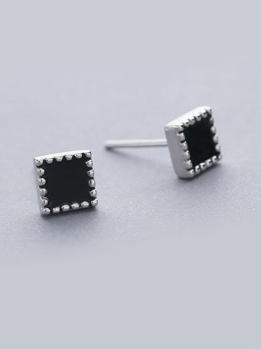 One Silver 925 Silver Square Shaped stud Earring 0