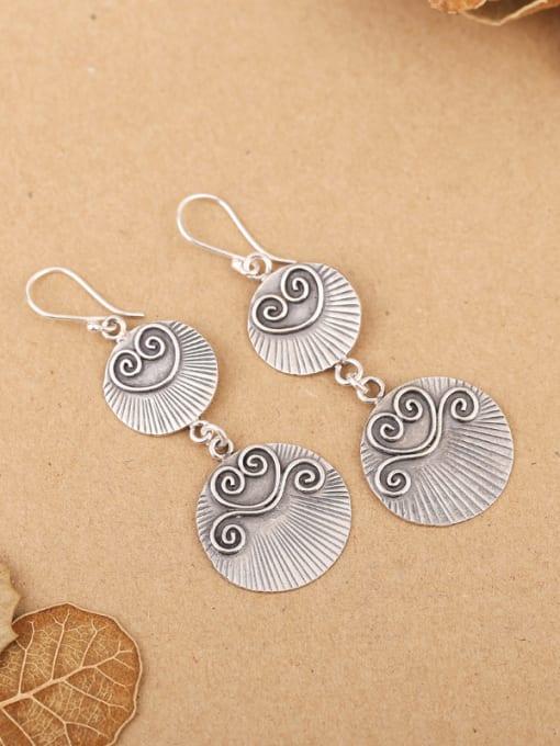 Peng Yuan Retro Silver Handmade Drop hook earring 0