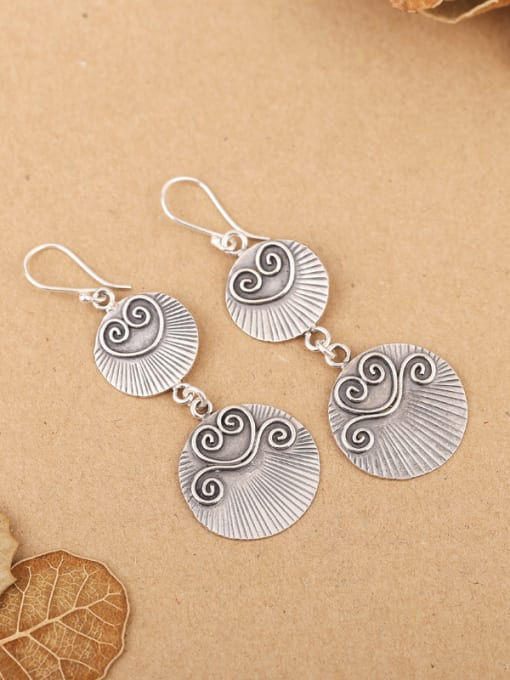 Peng Yuan Retro Silver Handmade Drop hook earring