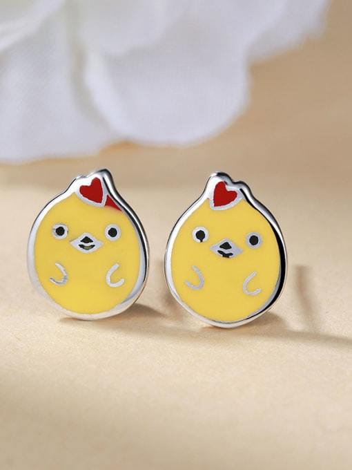 One Silver Cute Chicken Shaped Stud Earrings 2