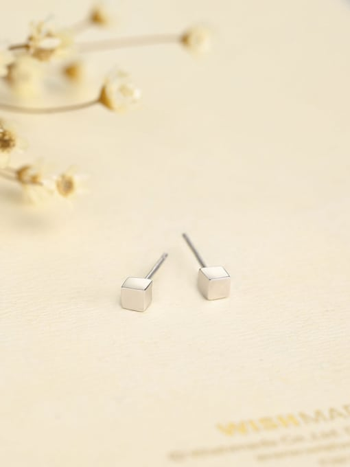 One Silver Personality Square Shaped Stud Earrings 2