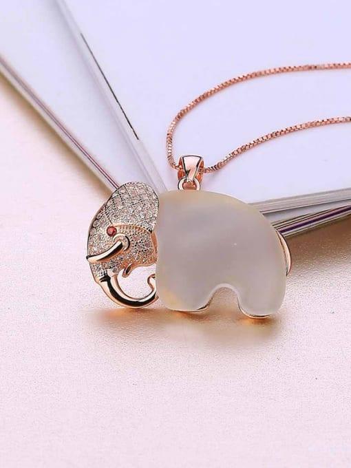 One Silver 925 Silver Elephant Opal Stone Pendant 2
