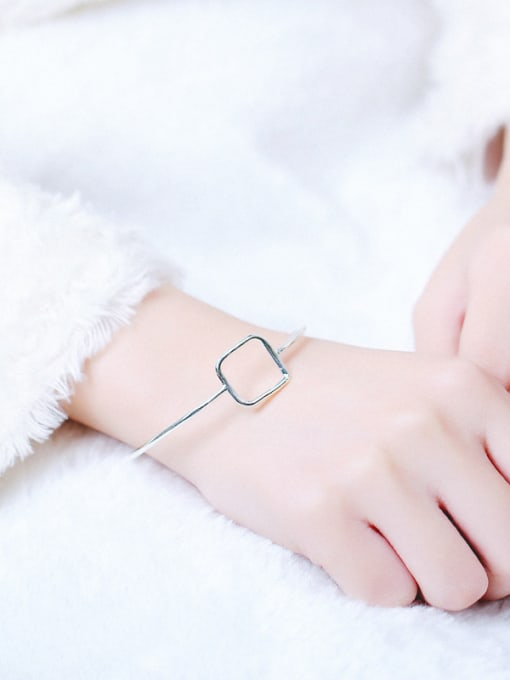 Peng Yuan Simple Hollow Square Opening Bangle 1