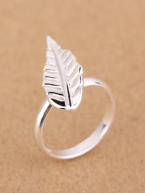 Peng Yuan Simple Leaf Silver Women Ring 1