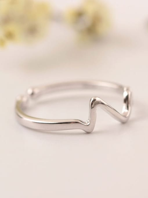 SILVER MI ECG Shape Simple Opening Ring 1