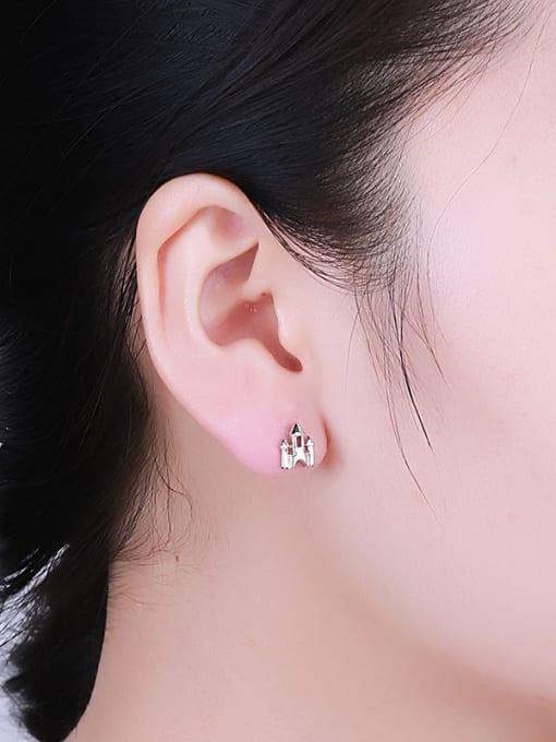 One Silver 925 Silver Castle Shaped stud Earring 1