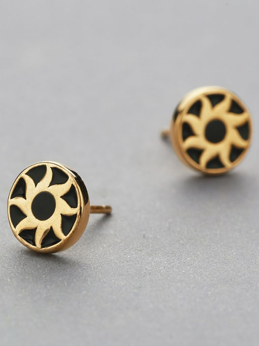 Yellow Gold Plated Sunflower Shaped stud Earring