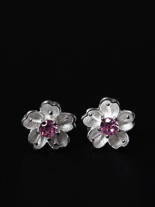 SILVER MI S925 Beautiful Romantic Stud Earrings 0