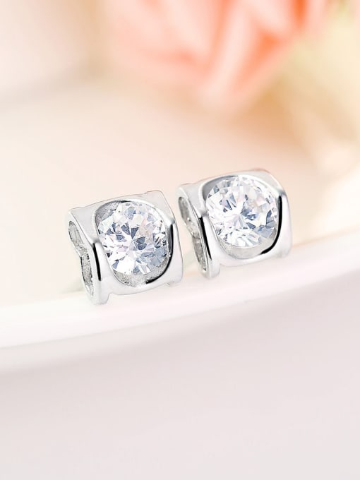 One Silver Women Heart Shaped Zircon stud Earring 0