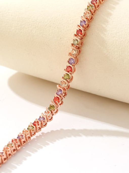 DUDU Brass Cubic Zirconia Multi Color Geometric Dainty Bracelet 3