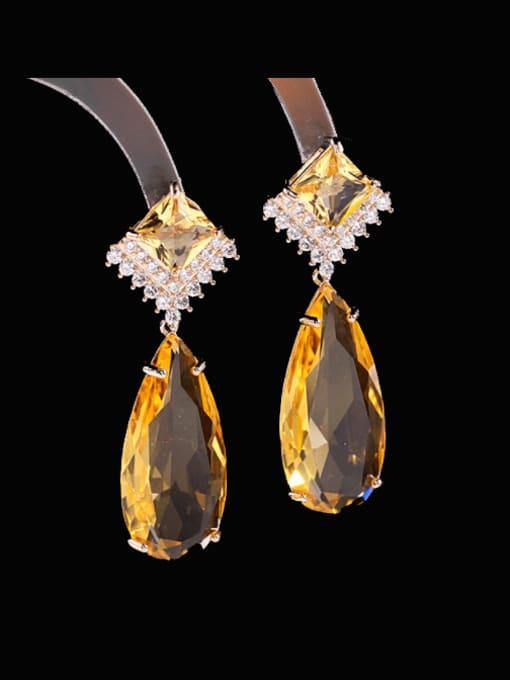 Luxu Brass Cubic Zirconia Water Drop Luxury Drop Earring 0