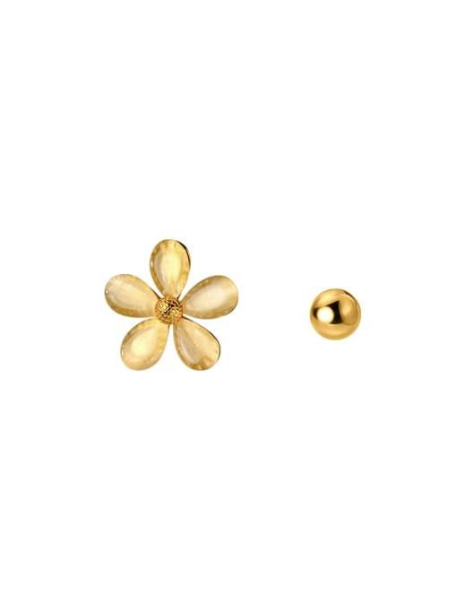 Rosh 925 Sterling Silver Cats Eye Asymmetric  Flower Bead  Minimalist Stud Earring 3