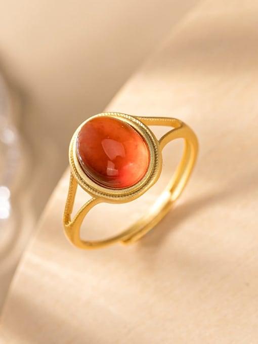 DEER 925 Sterling Silver Garnet Oval Vintage Band Ring 3