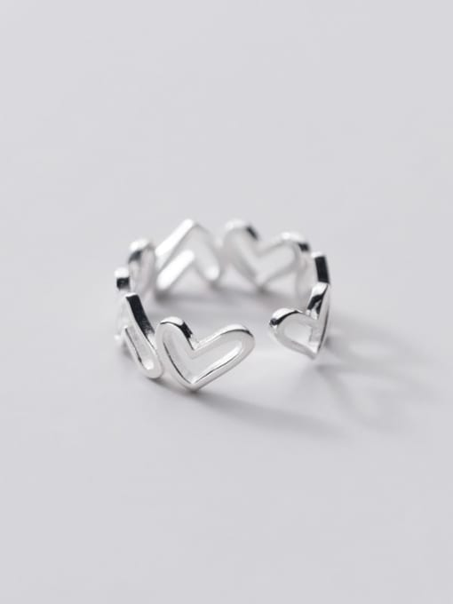Rosh 925 Sterling Silver Heart Minimalist Band Ring 2