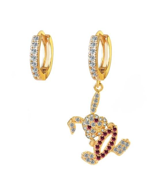DUDU Brass Cubic Zirconia  Vintage Asymmetry rabbit Huggie Earring