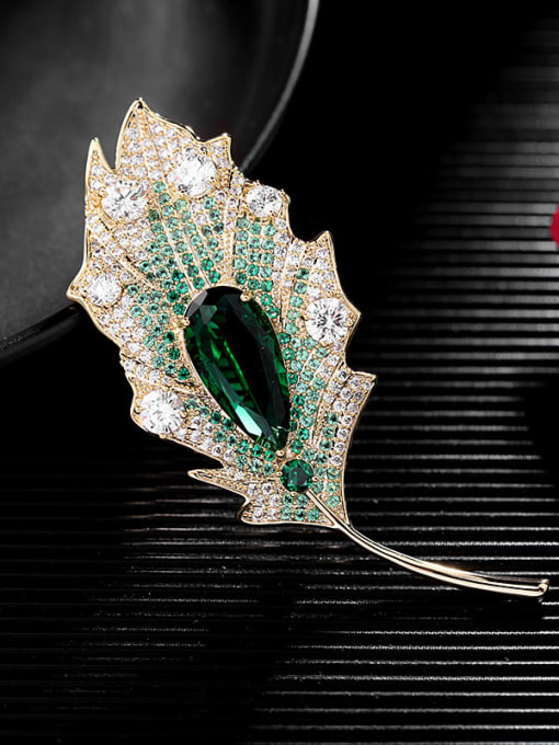 Luxu Brass Cubic Zirconia Leaf Statement Brooch 2