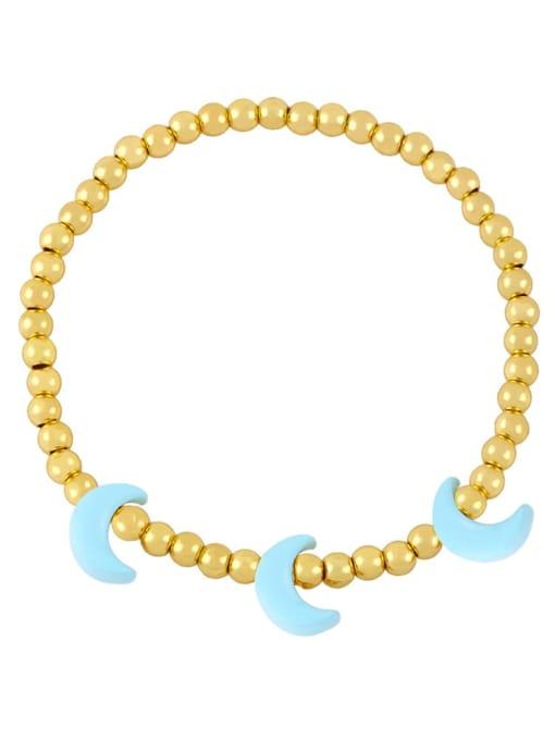 Light blue Brass Enamel Moon Minimalist Beaded Bracelet