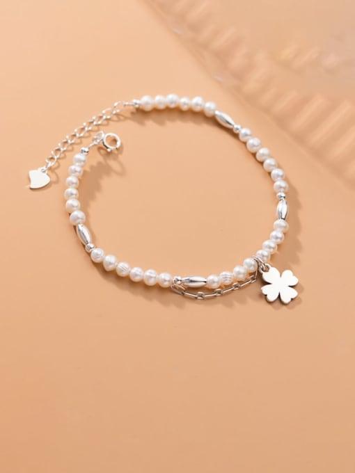 Rosh 925 Sterling Silver Imitation Pearl Flower Minimalist Bracelet
