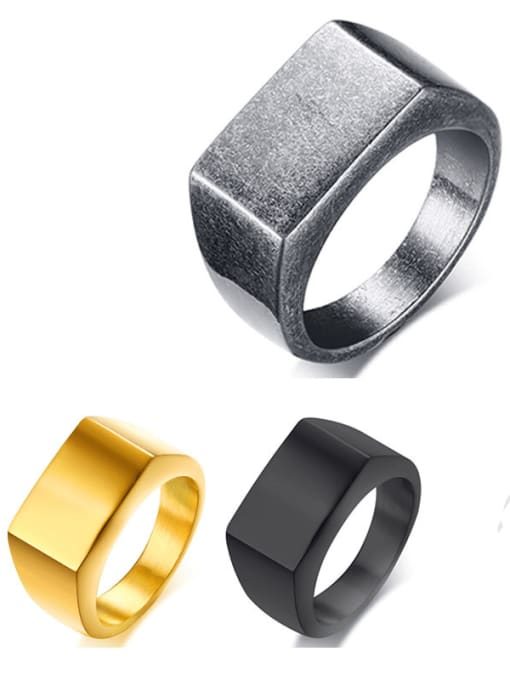 CONG Stainless steel Geometric Minimalist Band Ring 0