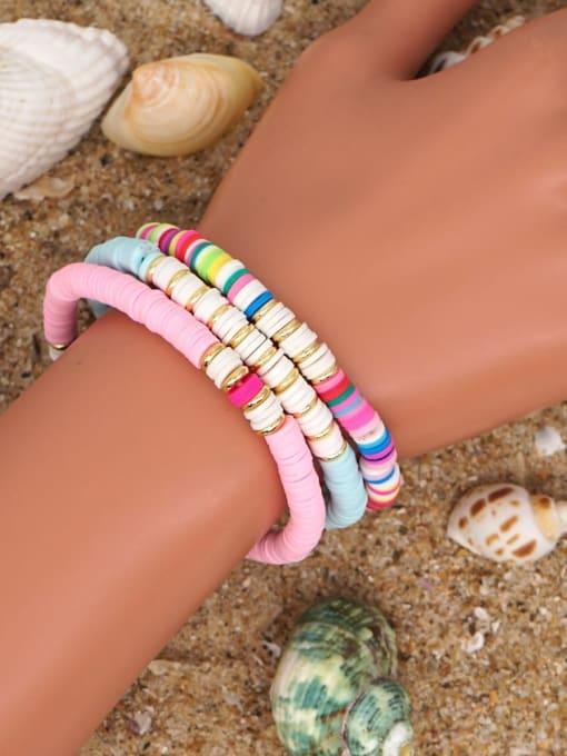 Roxi Stainless steel Multi Color Polymer Clay Geometric Bohemia Stretch Bracelet 1