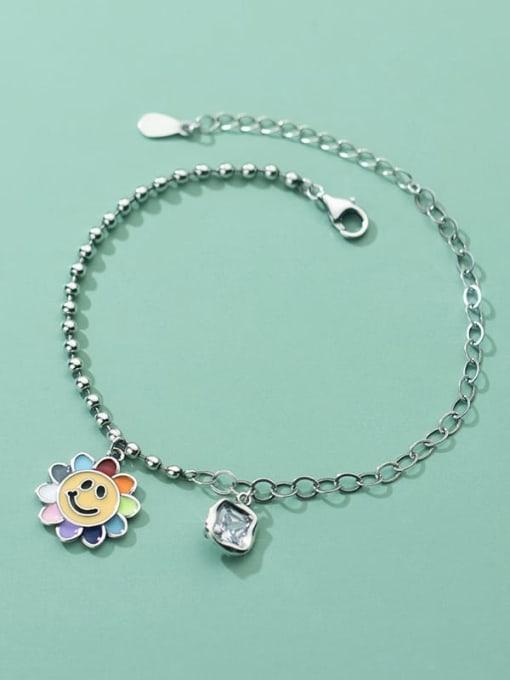 Rosh 925 Sterling Silver Flower Vintage Link Bracelet 2