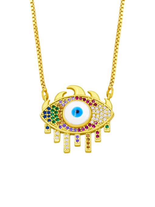 CC Brass Cubic Zirconia Evil Eye Hip Hop Necklace 2