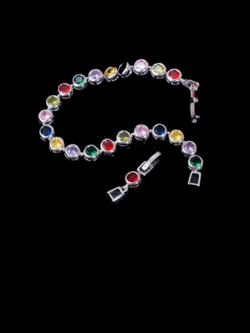 Platinum color Brass Cubic Zirconia Round Minimalist Bracelet